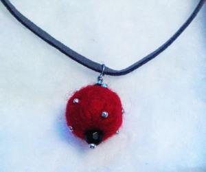 handmade felt bead on leather chain